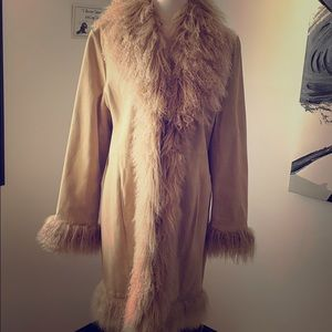 Jackets & Blazers - Vintage Suede coat trimmed with Mongolian fur